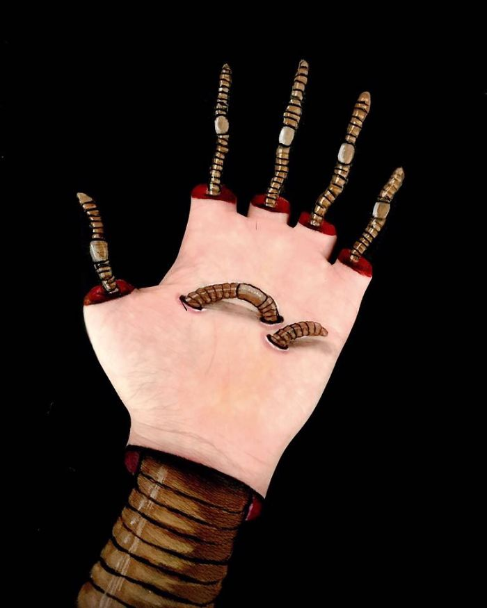Body Artist Paints Surreal Optical Illusions Down Her Own Arms